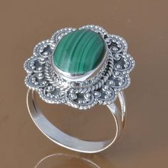 925 SOLID STERLING SILVER MALACHITE RING 6.13g DJR7535 SZ-9 #Handmade #Ring