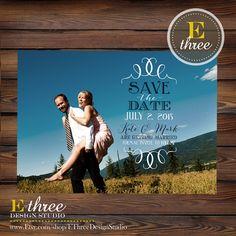 Printable Photo Save the Date Card  Wedding by EThreeDesignStudio