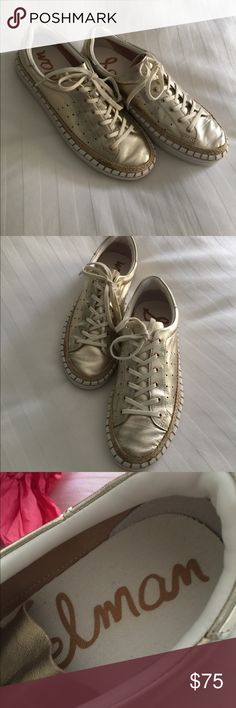54c67d4ab98a3b Sam Edelman Gold Espadrille Sneakers Sneakers are in excellent condition   worn