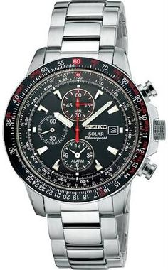 c583f0ca51f Seiko Core SSC007 Solar Men s Black Dial Steel Chronograph Alarm Watch Best  Seiko Watch
