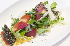 Gallery Restaurant at The Ballantyne Hotel in Charlotte Restaurant 2013 Spring Dining Menu - FRISÉE ORANGE SALAD Rocket, sunflower sprouts, roasted beets, local cow's milk cheese, Mandarin-ginger vinaigrette, toasted seed brittle www.gallery-restaurant.com #charlotte dining #charlotte restaurants