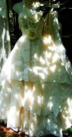 Ivory wedding dress beaded tiered antique by vintageopulence