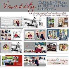 Varsity AND Senior Photo Album- custom photo templates for photographers on WHCC, Miller's Lab and ProDigitalPhotos Specs Graduation Templates, Photo Displays, Custom Photo, Senior Pictures, Photo Book, Cover Design, Photoshop, Prints, Albums