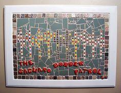 """The Saguaro Border Patrol"" Saguaro Cactus Mexican American Hipster Mosaic Art  #ContemporaryMexicanHipsterArt"