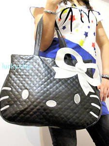Brand New Hello Kitty Black BIG Tote Leather-like Bag Purse Handbag