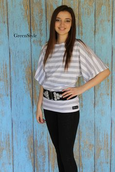 Newport Style  Top in Grey and White Stripe knit  by Gogreenstyle, $47.00
