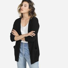 Everlane Cashmere Cardigan 1. Black & Medium 2. Price: 160 3. Tax: 22.09 4. Duties: 28.80 5. Shipping: 9.90 6. Total *in U.S.*: 220.84 Total Canadian: 294.61
