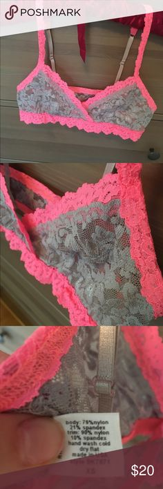 LACE BRALETTE Like new condition lace bralette adjustable straps. Would best fit A-B cup. Pink and grey. No brand. Bought at Nordstrom rack. Tags: Victoria's Secret, bra, body suit, sports bra Victoria's Secret Intimates & Sleepwear Bras