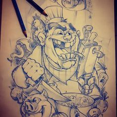 The crazy cooker Next half of sleeve project Graffiti Doodles, Graffiti Drawing, Graffiti Lettering, Graffiti Art, Alien Drawings, Pencil Art Drawings, Tattoo Drawings, Tattoos, Cartoon Coloring Pages