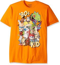 Nickelodeon Men's Ren and Stimpy, Rugrats and Classic Show Characters T-Shirt, Neon Orange, Extra Large Rugrats, Mens Tee Shirts, Kids Shirts, Mens Clothing Styles, Men's Clothing, Clothing Ideas, Orange Shirt, Workout Shirts, Graphic Tees