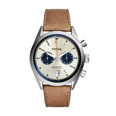 Fossil 'Del Rey' Chronograph Leather Strap Watch for men - Two chronograph subdials and a handy date window detail the three-hand dial of a classic leather-strap watch at Nordstrom. Fossil Watches For Men, Best Watches For Men, Cool Watches, Herren Chronograph, Classic Leather, Tan Leather, Affordable Watches, Best Watch Brands, Graphics