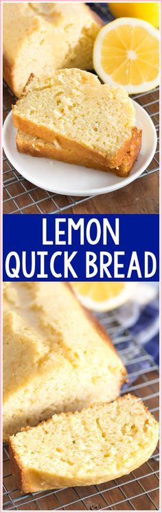 Lemon Quick Bread – this easy quick bread recipe is bursting with lemon flavor. … Lemon Quick Bread – this easy quick bread recipe is bursting with lemon flavor. It's great for dessert or breakfast – with or without a lemon glaze! Lemon Desserts, Lemon Recipes, Easy Desserts, Delicious Desserts, Dessert Recipes, Yummy Food, Easter Recipes, Healthy Desserts, Coconut Dessert