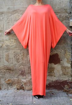 Coral Maxi Dress, Caftan, Abaya, Plus size dress,Party dress | Cherry Blossoms Dress | ASOS Marketplace