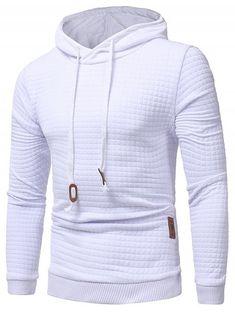 Vska Mens Front-Zip Drawstring Matching Sweatshirts with Hood White S