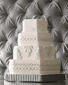 Art deco or what, I just got craving for this cake. Martha Steward art deco wedding cake, white on white, hexagonal! 1920s Wedding Cake, Great Gatsby Wedding, Art Deco Wedding, Wedding Themes, Wedding Cakes, Dream Wedding, Wedding Ideas, Wedding Stuff, Trendy Wedding