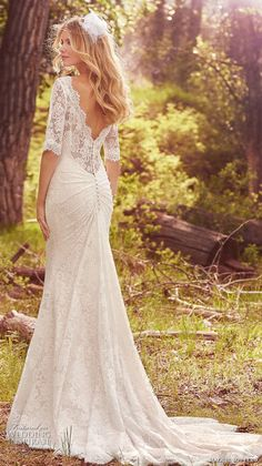 maggie sottero spring 2017 bridal half sleeves bateau neckline full embellishment elegant sheath fit and flare wedding dress lace back chapel train (mckenzie) bv