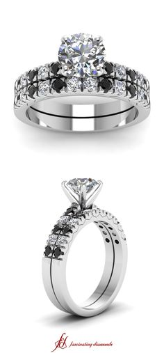 Sequential Set ||  Round Cut Diamond Wedding Sets With Black Diamond In 14k White Gold