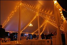 We suspended this crystal chandelier for a wedding reception in a 40x100 high peak pole tent