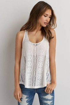 AEO Lace Swing Tank  by AEO | Try this boho top with your favorite destroyed jeans.  Shop the AEO Lace Swing Tank  and check out more at AE.com.