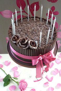 Chocolate Rose Cake - deep layers of chocolate mud cake and dark chocolate ganache.