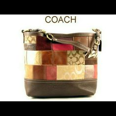 Coach Vintage Jacquard Signature Patchwork Tote Ba VINTAGE Authentic Coach Patchwork Shoulder Bag Tote. Style 10434. Pre-owned excellent condition. Very light discoloration to 1 square on both sides. Light scuffs on leather at each bottom corner from normal wear. Inside looks flawless! Features: adjustable shoulder strap, clip top closure, brass hardware. Inside has 2 slip pockets, 1 zip pocket. Coach stamp on bottom front & brown leather hang tag. Colors: burgundy, metallic gold, tan…