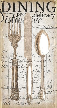 Antique Utensils For Kitchen And Dining In White Print by Grace Pullen