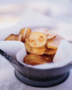 Salt and Vinegar Potato Chips Recipe | Martha Stewart Living — Avoid stirring or turning the potatoes as they bake on each side. Moving them around will cause them to stick, tearing the crispy surface from the chip