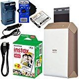 Fujifilm instax SHARE Smartphone Printer SP-2, Gold (International Version) + Instax Mini Instant Film (20 sheets) + Rchrgbl. Battery + AC/DC Charger + HeroFiber Gentle Cleaning Cloth