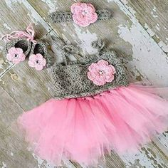 Crochet Baby Tutu Dress Flower Shoes Headband Set Newborn Baby Infant Photography Photo Prop Baby Shower Gift