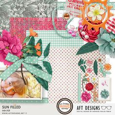 A bright and sunny palette featured in this digital scrapbooking kit great for scrapbooking summer to everyday moments.