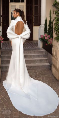 elihav sasson 2018 capsule bridal long mutton sleeves queen anne plunging v neck simple clean modern sheath wedding dress keyhole back long train (15) bv -- Elihav Sasson 2018 Royalty Girl Capsule Collection