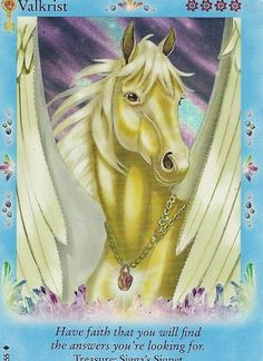 Valkrist Bella Sara Card Animal Spirit Guides, Spirit Animal, Fantasy Creatures, Mythical Creatures, Fortune Cards, Horse Cards, Winged Horse, Horse Artwork, Pagan Art