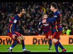 Lionel Messi of FC Barcelona celebrates with his teammate Arda Turan of FC Barcelona after scoring the opening goal during the Copa del Rey Round of 16 first leg match between FC Barcelona and RCD Espanyol at Camp Nou on January 2016 in Barcelona, Spain. Lionel Messi, Neymar, Barcelona Catalonia, David Ramos, Granada Cf, Rcd Espanyol, Messi Photos, Football Highlight