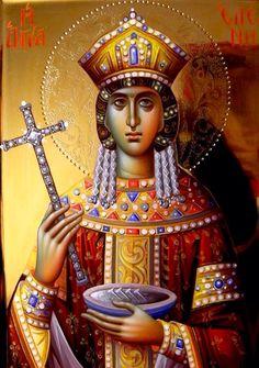 Helen by Eleni Dadi Byzantine Art, Byzantine Icons, Orthodox Christianity, Russian Orthodox, St Helena, Religious Icons, Orthodox Icons, All Icon, Sacred Art