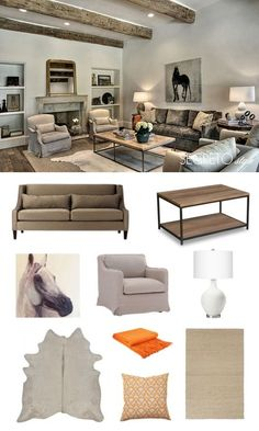 A neutral equestrian  living room with fun pops of orange.