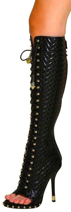 Givenchy | shoes | heels | boots | booties | lace up | black quilted leather | gold studs | sexy | fierce | stylish | fashion | couture