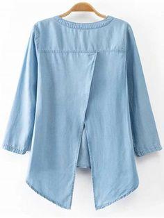 Back Slit Stand Neck Sleeve Denim Blouse Denim Fashion, Look Fashion, Trendy Fashion, Denim Blouse, Denim Top, Cute Blouses, Blouses For Women, Women's Dresses, Fashion Dresses