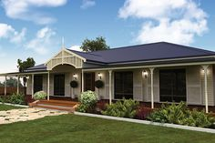 The Country Estate kit home features four or five bedrooms, two bathrooms and a verandah that wraps around the perimeter. View information on this steel framed home. Kit Homes Australia, Roof Design, House Design, Steel Framing, Farm Shed, Farm House, Steel Cladding, Steel Sheds, Diy Storage Shed