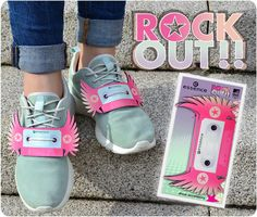 """hi beauties, pimp your sneakers! turn your shoes into cool party highlights with the """"rock out!"""" shoe accessory. what are your favorite sneakers?  #essence #rockout #shoes #accessories #accessory #mtvema #EMAzingessence #sneakers #trendedition"""