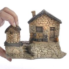 Miniature Fairy Garden Stone Cottage with Tool Shed