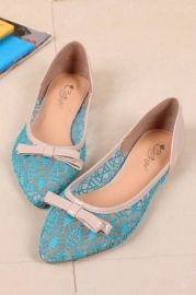 Bowknot Embellished Embroidery Sheer Vamp Flats - Shoes
