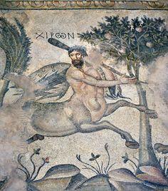 Chirone il saggio Centauro maestro di Achille nella mitologia greca - mosaico (V-VI sec.) dalla Villa delle Amazzoni di Edessa (oggi Urfa, Turchia) scoperta nel 2006