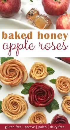 Baked honey apple ro Baked honey apple roses are a delicious paleo dessert. We like to serve these easy to make baked apple flowers as an elegant Rosh Hashanah dessert. Baked Apple Dessert, Apple Dessert Recipes, Paleo Dessert, Apple Recipes, Fall Recipes, Delicious Desserts, Homemade Desserts, Apple Cake, Fruit Recipes