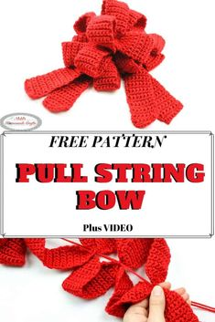 Learn how to Crochet a Pull-String Bow easily and fast. This free crochet pattern makes the bow also reusable for gifts and presents for Christmas and Birthdays. Video Tutorial is included. #free #pattern #crochet #crochetpatterns #freecrochetpatterns #bow #ribbon #ribbonbow #prettybow #giftbow #gift #present #Christmas #bowideas #diyideas Crochet Bows Free Pattern, Holiday Crochet Patterns, Bow Pattern, Free Crochet, Crochet Stitches, Crochet 101, Crochet Tutorials, Easy Crochet, Crochet Ideas