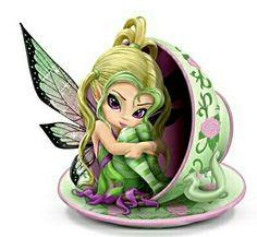 Jasmine Becket-Griffith Tiny Cu-tea Fairy Figurine by The Hamilton Collection Jasmine Becket Griffith, Kobold, Drawn Art, Fairy Pictures, Fairy Figurines, Love Fairy, Baby Fairy, Beautiful Fairies, Tiny Treasures