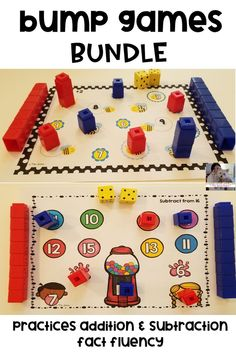 Bump games are a fun, hands-on activity that engages students as they practice addition and subtraction fact fluency. These games can easily be used in small group instruction, math centers, whole class activity, as a supplemental to your math curriculum, as a fast finisher activity, or to differentiate your instruction. There are 19 addition games and 17 subtraction games. #elementary #math #addition #subtraction #mathfacts #factfluency #mentalmath #mathgames #bumpgames #teaching
