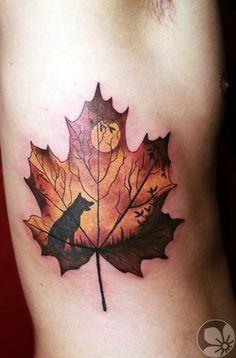 Wolf In Maple Leaf Tattoo On Ribs