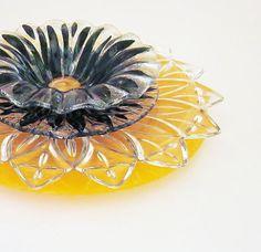Garden Art Yard Decor Orange Black Glass Plate Flower Reclaimed Material Suncatcher UpCycled RePurposed Fall Halloween Autumn CANDY