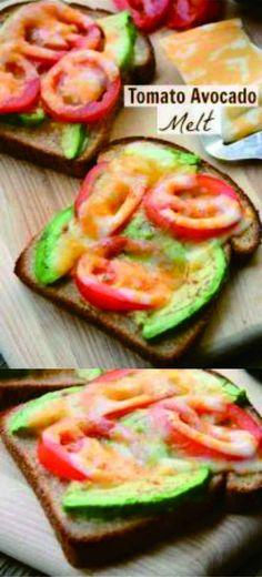 TOMATO AVOCADO MELT - avocado, bread, cheese, healthy, recipes, tomato