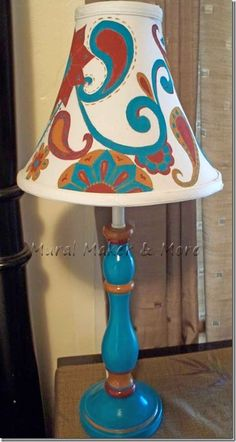 Linkup Here for the Lamp Makeover Challenge! Painting Lamp Shades, Painting Lamps, Diy Painting, Tv Diy, Chandelier Design, India Home Decor, French Kitchen Decor, Creative Lamps, Lamp Makeover